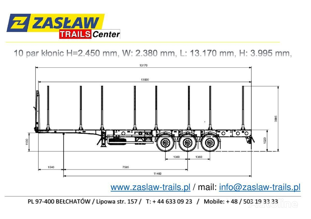 nova polprikolica za prevoz lesa ZASLAW TRAILIS 4.600 kg / 10 par kłonic, naczepa LEŚNA LekkA zPLACU !!