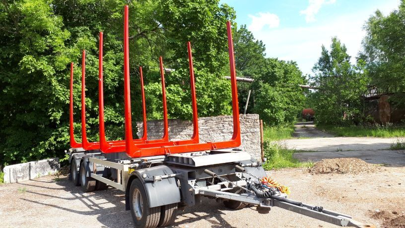 gozdarska prikolica HFR timber trailer + new bunks and tyres