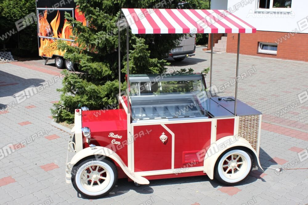 nova prikolica potujoča trgovina BMgrupa stand w stylu retro, stoisko gastronomiczne, catering trailers