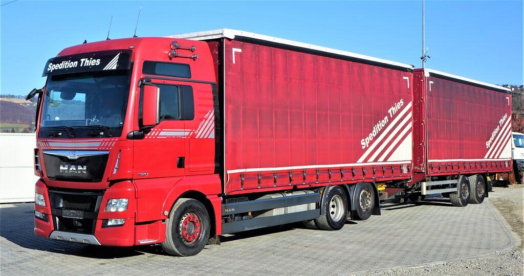 tovornjak platforma MAN TGX 26.440 PLTFORM+ PLANE 7,70m+Anhänger EURO 6 + prikolica tovorna ploščad