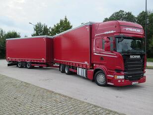 tovornjak s ponjavo SCANIA R410 TOP LINE + KRONE, ZESTAW 120 M3 + prikolica ponjava