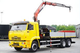tovornjak tovorna ploščad KAMAZ 65117 , 6x4 , Crane Fassi 95 , rotator , box 6m