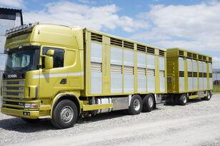 tovornjak za prevoz živine SCANIA R164 V8 , 6x2 , 2 hydraulic decks , 70m2 , live stock + prikolica za prevoz živine